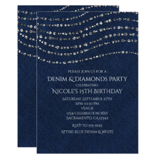 Blue Denim & Diamonds Sparkle Bling Birthday Party Card