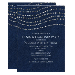 Blue Denim Invitations Announcements Zazzle