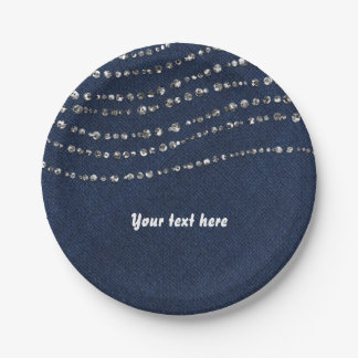 Blue Denim & Diamonds Sparkle Bling Birthday Party Paper Plate