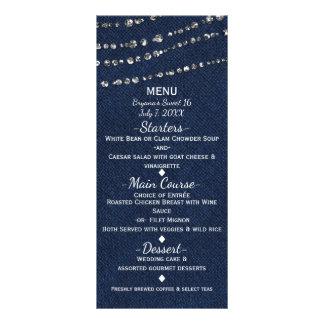 Blue Denim & Diamonds Sparkle Bling Party Menu