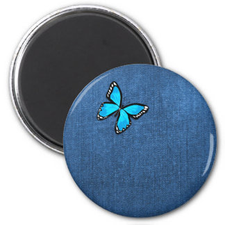 Blue Denim Fabric Butterfly Background Refrigerator Magnet