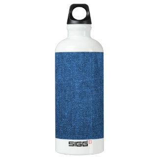 Blue Denim Fabric Textured Background Aluminum Water Bottle