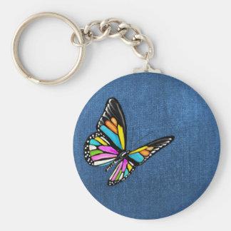 Blue Denim Fabric Textured Background Keychain