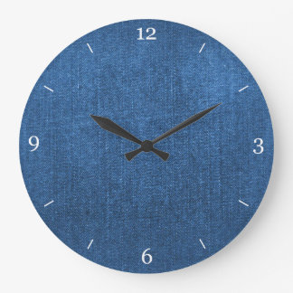 Blue Denim Fabric Textured Background Large Clock