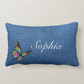 Blue Denim Fabric Textured Background Lumbar Pillow