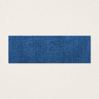 Blue Denim Fabric Textured Background Mini Business Card