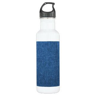 Blue Denim Fabric Textured Background Stainless Steel Water Bottle