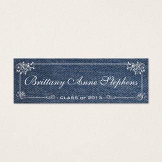 Blue Denim Graduation Name Card Insert