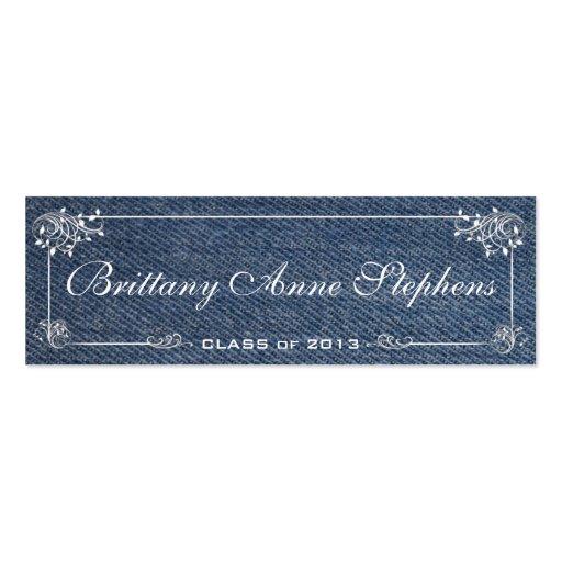 Blue Denim Graduation Name Card Insert Business Card Template