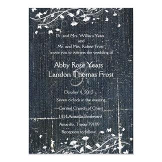 Blue Denim Grunge Antique Wedding Invitation