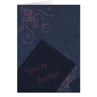 Blue Denim Invitation Greeting Card