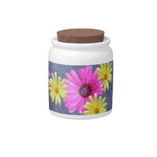 Blue Denim Jeans and Flower Power Snack Candy Jar