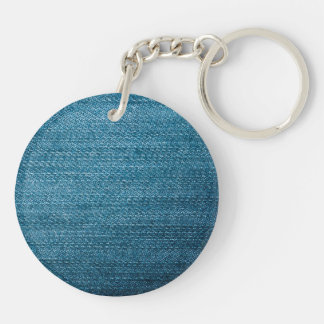 Blue Denim Jeans Texture For Background Keychain