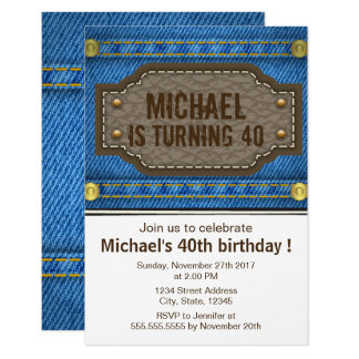 Blue denim jeans with leather label birthday party card