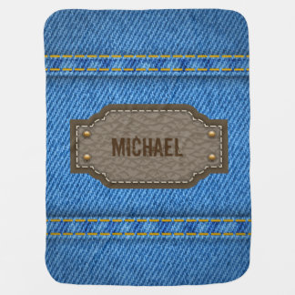 Blue denim jeans with leather name label baby receiving blanket