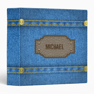 Blue denim jeans with leather name label binder