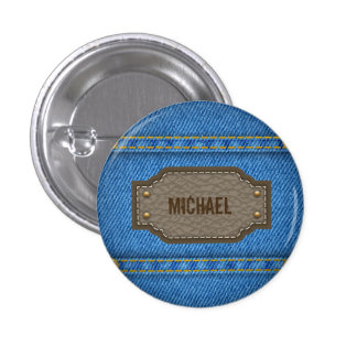Blue denim jeans with leather name label button