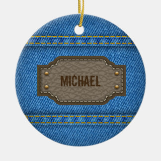 Blue denim jeans with leather name label ceramic ornament