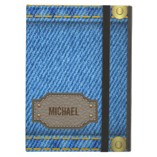 Blue denim jeans with leather name label iPad air covers