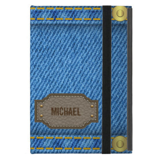 Blue denim jeans with leather name label iPad mini case