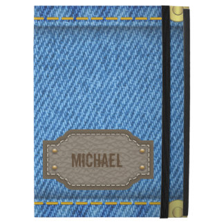 Blue denim jeans with leather name label iPad pro case