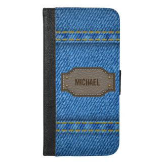 Blue denim jeans with leather name label iPhone 6/6s plus wallet case