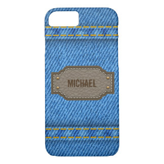 Blue denim jeans with leather name label iPhone 7 case