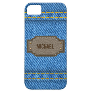 Blue denim jeans with leather name label iPhone SE/5/5s case