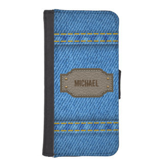 Blue denim jeans with leather name label iPhone SE/5/5s wallet
