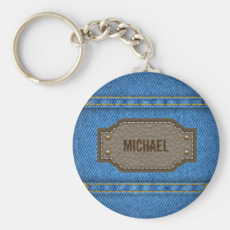 Blue denim jeans with leather name label keychain