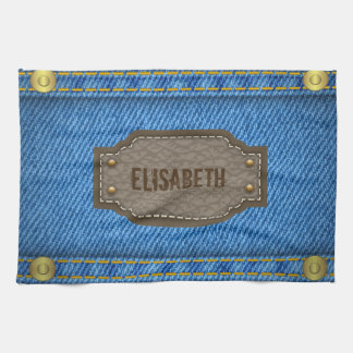 Blue denim jeans with leather name label kitchen towel