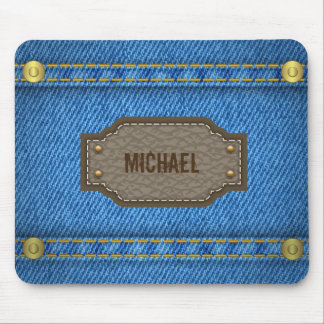 Blue denim jeans with leather name label mouse pad