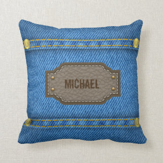 Blue denim jeans with leather name label pillow