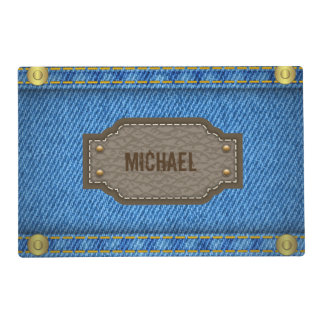 Blue denim jeans with leather name label placemat