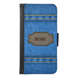Blue denim jeans with leather name label samsung galaxy s6 wallet case