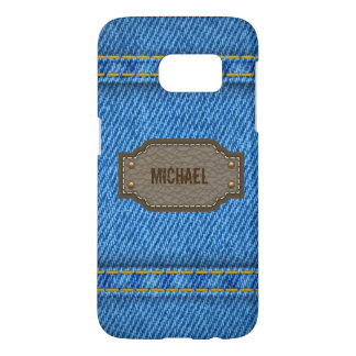 Blue denim jeans with leather name label samsung galaxy s7 case
