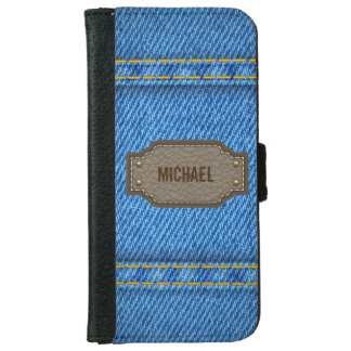 Blue denim jeans with leather name label wallet phone case for iPhone 6/6s
