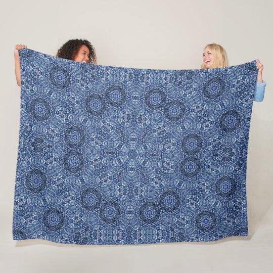 Blue Denim Lotus Flower Mandala Quilt Pattern Fleece Blanket Cool Fleece Blanket Pattern