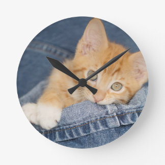 Blue Denim Orange Kitty Clock