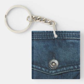 Blue Denim Pocket Keychain