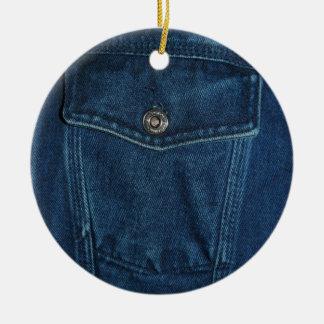 Blue Denim Pocket Christmas Tree Ornaments