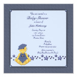 blue, overalls, baby, boy, shower, invitations,