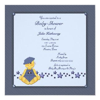 Blue Denim Stars Baby Boy Shower 5.25x5.25 Square Paper Invitation Card