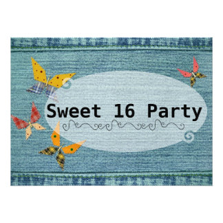 Blue Denim Sweet 16 Personalized Invitation