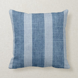 Blue Denim Wide Stripe Faux Linen Pillow