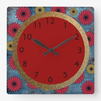 Blue Denim with Red and Yellow Flowers and Gold Square Wall Clock