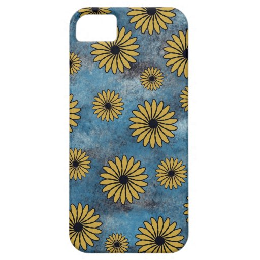 Blue Denim with Yellow Flowers iPhone5 Case