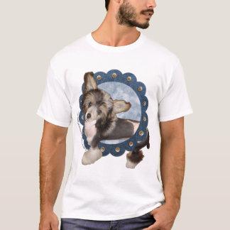 Blue Denim Wreath - Chinese Crested - Sheeba T-Shirt