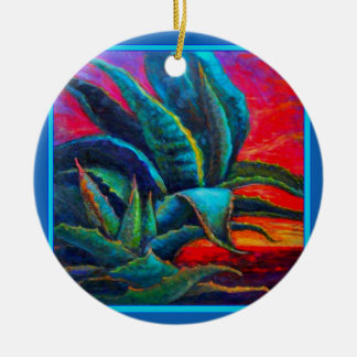 BLUE DESERT AGAVE RED DAWN DESIGN CERAMIC ORNAMENT