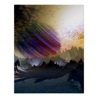 """Blue Desert of Niprox 4 V2.0  22"""" x 28"""" Art Print"""